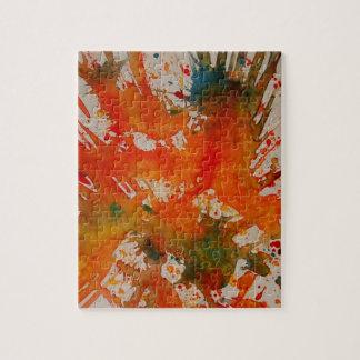 しぶきの錫が付いている抽象的な絵画のパズルかジグソーパズル ジグソーパズル