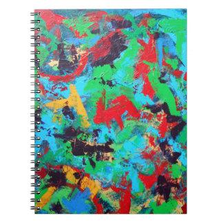 しぶき手によって絵を描かれる抽象的なブラシストローク ノートブック