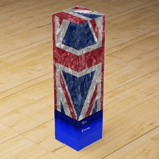 しわが寄る英国国旗の旗- ワインギフトボックス