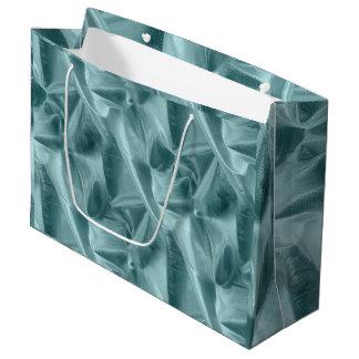 しわにされた水のLameの金属生地の写真 ラージペーパーバッグ
