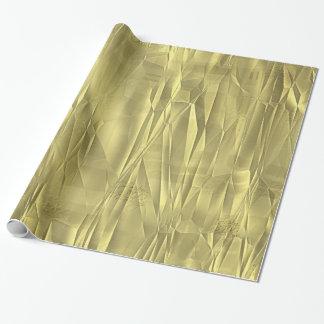しわにされた金ゴールドホイルのクリスマスの包装紙 ラッピングペーパー
