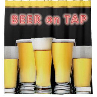 すぐに役立つネオンサインビールが付いているビールのガラス シャワーカーテン
