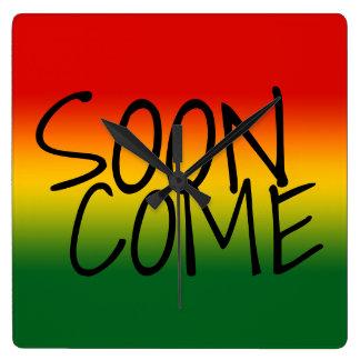 すぐに来られる-ジャマイカの方言 スクエア壁時計