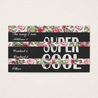 """""""すごいカッコいい""""は花柄が縞で飾るヴィンテージのバラを言い表わします 名刺"""