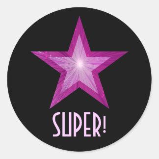 すごいピンクの星「!」 円形のステッカーの黒 ラウンドシール
