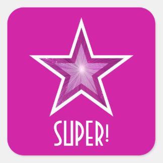 すごいピンクの星「!」 正方形のステッカーのピンク スクエアシール