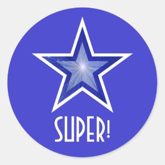 すごい濃紺の星「!」 円形のステッカーの青 ラウンドシール