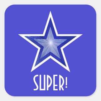 すごい濃紺の星「!」 正方形のステッカーの青 スクエアシール