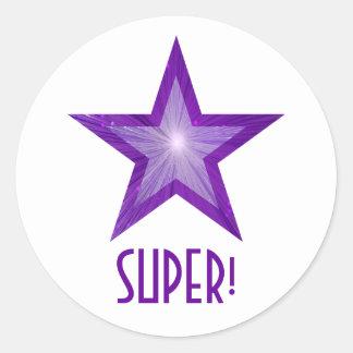 すごい紫色の星「!」 円形のステッカーの白 ラウンドシール