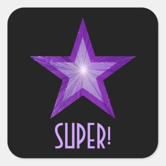 すごい紫色の星「!」 正方形のステッカーの黒 スクエアシール