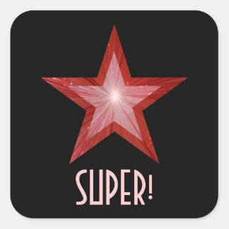 すごい赤い星「!」 正方形のステッカーの黒 スクエアシール