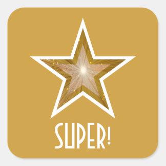 すごい金ゴールドの星「!」 正方形のステッカーの黄色 スクエアシール