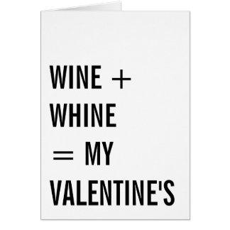 すすり泣きのおもしろいで独身のなバレンタインデーとワイン カード
