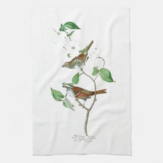 すずめのジョン白いThroated Audubonの鳥アメリカ キッチンタオル