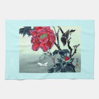 すずめの菊のガが付いている日本人のプリント キッチンタオル