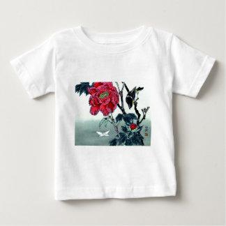 すずめの菊のガが付いている日本人のプリント ベビーTシャツ