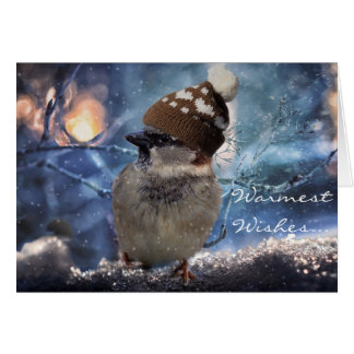 すずめの鳥の自然の休日のクリスマスカード カード