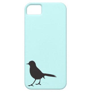すずめの鳥の黒く及び白いシルエットの青 iPhone SE/5/5s ケース