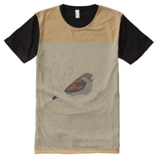 すずめ オールオーバープリントT シャツ