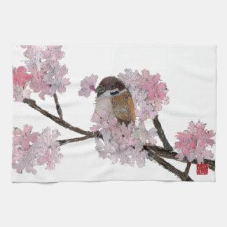 すずめ、桜 キッチンタオル