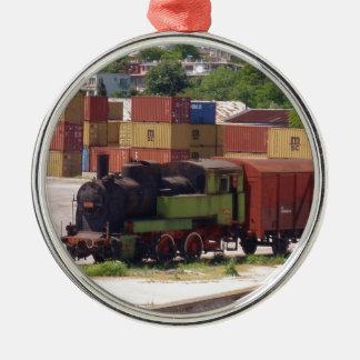すたれた蒸気の列車 メタルオーナメント