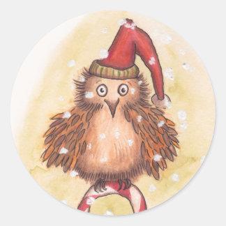 すてきなクリスマスのフクロウ ラウンドシール