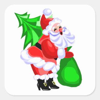 すてきなサンタおよびクリスマスツリー スクエアシール