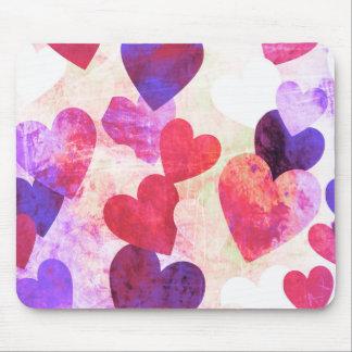 すてきなピンク及び紫色の汚いハートのデザイン マウスパッド