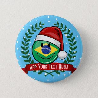 すてきな微笑のブラジルの旗のクリスマスのスタイル 5.7CM 丸型バッジ