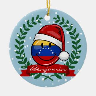 すてきな微笑のベネズエラの旗のクリスマス セラミックオーナメント
