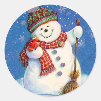 すてきな雪だるま ラウンドシール