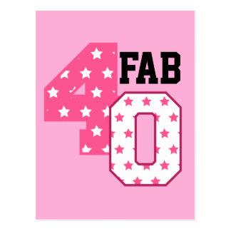 すてきな40第40誕生日のピンクおよび白い星 ポストカード
