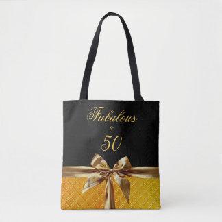 すばらしいおよび50黒い金ゴールドの弓輝きの革 トートバッグ