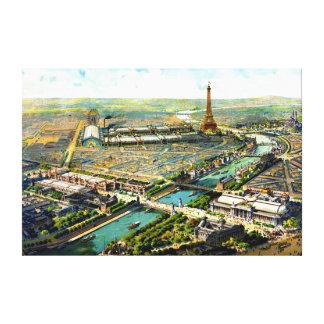すばらしいアンティークの1900年のパリの全景のlitho キャンバスプリント
