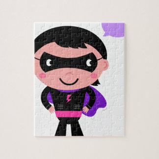 すばらしいスーパーヒーローのキャラクターの黒 ジグソーパズル