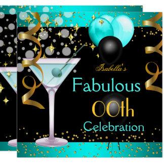すばらしいティール(緑がかった色)の青いマルティーニの金ゴールドの誕生会 カード