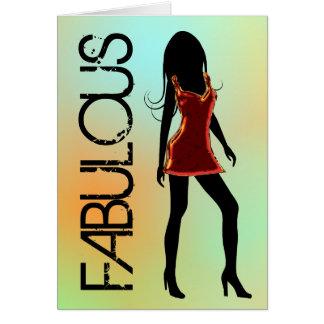 すばらしいファッションの花型女性歌手の挨拶状 カード