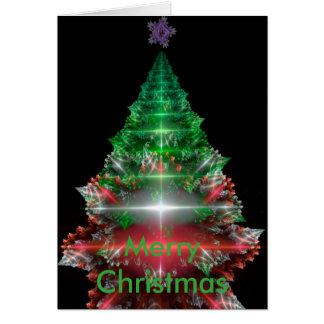 すばらしいフラクタルのクリスマスツリーおよび星 カード