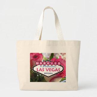 すばらしいラスベガスのピンクのバラTのバッグで結婚した ラージトートバッグ