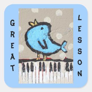 すばらしいレッスンピアノ学生のステッカー スクエアシール