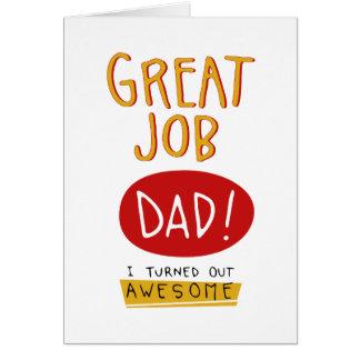 すばらしい仕事のパパのおもしろいな父の日カード グリーティングカード