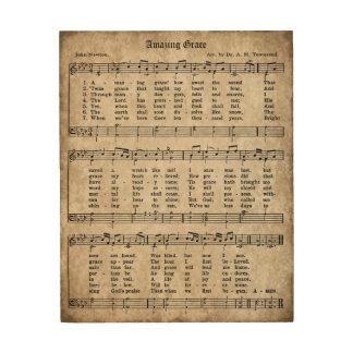 すばらしい優美のヴィンテージの賛美歌の楽譜木印 ウッドウォールアート