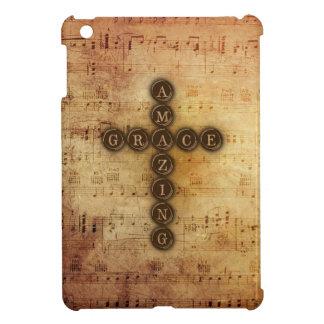 すばらしい優美の十字のヴィンテージの音楽的な賛美歌のノート iPad MINI カバー