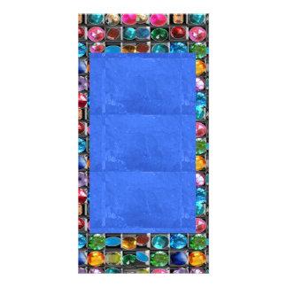 すばらしい優美: ボーダーフレームの宝石の真珠の宝石 カード