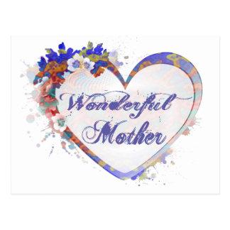 すばらしい母花柄のハート ポストカード