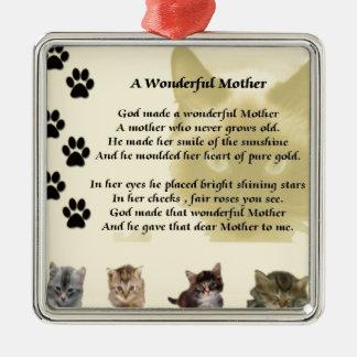 すばらしい母-猫 メタルオーナメント