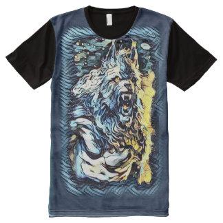 すばらしい狼人間の神の暗い恐怖芸術 オールオーバープリントT シャツ