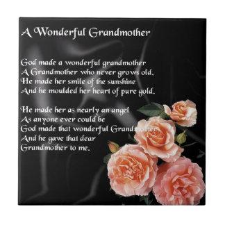 すばらしい祖母の詩-黒の花 タイル