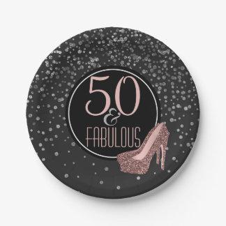 すばらしい第50誕生会|の黒い銀製のピンク ペーパープレート