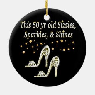 すばらしい第50銀製の靴の女王 セラミックオーナメント